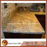 台所または浴室の上のための自然な磨かれた水晶または大理石または花こう岩の黄色い石造りのカウンタートップ