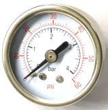 축 거치된 일반적인 압력계 계기 1.5 인치 스테인리스 압력