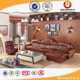 Sofà intagliato di legno di cuoio reale bianco 2016 del salone impostato (UL-B2015G)