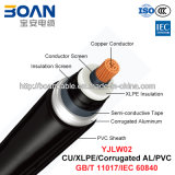 Yjlw02、Ehv Power Cable、48/66 Kv~127/220 Kv、Cu/XLPE/Corrugated Al/PVC (GB/T 11017/IEC 60840)