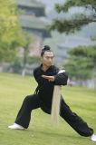 道教の高級な長袖の男性Wudang Taiのキーの厚いリネンコート