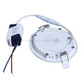 DEL ultra-mince ronde enfoncée en bas du boîtier allumant la lumière d'intérieur économiseuse d'énergie blanche des plafonniers de lampe de panneau de couleur 6W