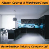 Gabinete de cozinha lustroso elevado da laca da cor preta