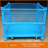 Складчатость & Stackable Wire Mesh Pallet Bin с Wheels для Warehouse Storage