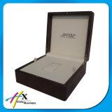 Aceitar a caixa de relógio de madeira do couro da caixa do relógio de pulso do pedido feito sob encomenda