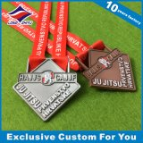 Vierecks-Form-kundenspezifisches Kind-fromme Medaillen mit Farbband