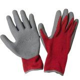 灰色のPolycottonは黒い乳液によって浸された手袋作業手袋に塗った