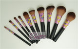 Brosse de lecture professionnelle de vente supérieure de maquillage de la poignée 10PCS en bois noire
