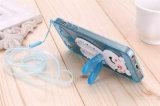 Caixa bonito do telefone de pilha do suporte TPU da orelha dos diamantes do coelho com corda para Huawei P9 (XSDD-051)