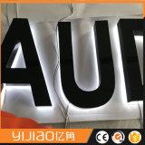 Знак письма канала конструктора Китая освещенный контржурным светом СИД