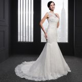 Mermaid O-Neck Sleeveless Applique Wedding Dress (SLJ-006)
