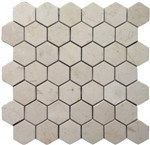 Crema Marfilの大理石の六角形のモザイク・タイル、白い六角形のタイル