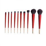 Escova da composição da geada da cor vermelha de 10 ferramentas do cosmético do PCS