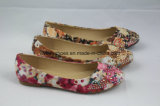 Flower Pattern를 가진 Bling Bling Lady Flat Shoes Ballerina