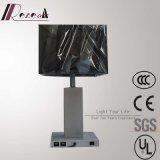 Modernes Hotel-dekorative silberne Nachttisch-Lampe mit USB 2PCS