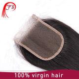 Прямое бразильское закрытие шнурка волос девственницы 2016