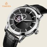 黒い革バンド72284が付いている男性用ステンレス鋼の自動腕時計