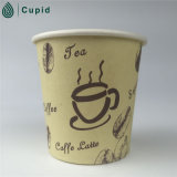 6oz Winkel des Leistungshebels Compostable Single Wall Paper Cup