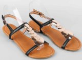 Chaussures plates annexes de femmes de santals d'éclat d'or