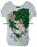 T-shirt fait sur commande de pièce en t de vente en gros de coton d'impression d'écran de la mode des femmes