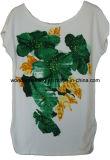 최상 스크린에 의하여 인쇄되는 T 형식 면 주문 숙녀 티 셔츠