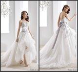 Purpurroter Spitze-Brautkleid-Farben-Akzent-Hallo-Niedriges Hochzeits-Kleid Ya89