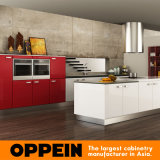 Armadi da cucina modulari all'ingrosso di legno della lacca rossa moderna di Oppein (OP15-L13)