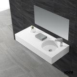 Lavabos superficiales sólidos de la vanidad del cuarto de baño de la resina de piedra blanca