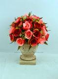 Nuevo diseño bonito ramo de flores artificiales de Rose en la urna