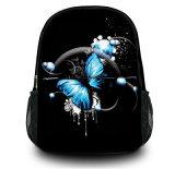 女の子及び男の子のためのカスタマイズ可能で黒いキャンバスのバックパックのランドセル