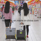 Bester Preis-gute faltende Einkaufen-Laufkatze-Plastikkarre mit 2 Rädern