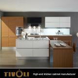 도자기 찬장 제작자 Tivo-0025h에서 백색 래커 페인트 그리고 자연적인 베니어를 가진 크거나 작은 부엌 찬장