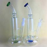 Tubo de cristal coloreado grueso alto de cristal del tubo de agua de la cachimba de cristal del tubo que fuma con el tazón de fuente o el casquillo de cerámica del clavo y del carburador