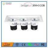 Bridgelux 옥수수 속 30W× 3개의 3 헤드는 보장 3 년을%s 가진 LED 석쇠 램프를 중단했다