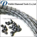 O fio plástico dos grânulos do diamante viu para o corte por blocos da pedreira do mármore do granito