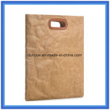 Eenvoudige het Winkelen van het Document Tyvek van /Eco van de Zak van de Totalisator van het Document van Dupont van het Ontwerp Vriendschappelijke Zak/de Slimme Handtas van de Gift met het Handvat van het Leer van Pu