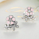S925 Knappe Roze Kleurrijke Zilveren Oorringen