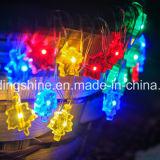 Forma de folha Bateria com cordão de corrente Arame de prata Fadas de fadas Decoração de Natal ao ar livre