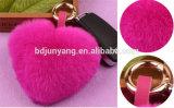 かわいいハート形の毛皮の球のウサギの毛皮POM袋の魅力の毛皮Keychain