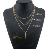 ステンレス鋼の宝石類女性のためのネックレス3つの層の
