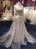 Hüllen-hoher Stutzen-lange Hülsen-Hochzeits-Kleider mit Kristallriemen