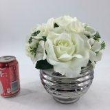 Mini decoração do escritório das flores artificiais do potenciômetro