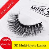 3D el pelo natural del visión del lujo el 100% azota las pestañas falsas suaves estupendas gruesas realistas