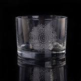 Petit choc en verre de bougie avec le logo de gravure