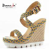 (Donna-в) сандалии клина веревочки женщин Outsole высокой пятки тросточки белые