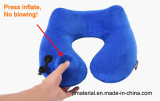 En forma de U Air Push almohadilla inflable del cuello Aviador Travel Press Inflate Neck Pillow