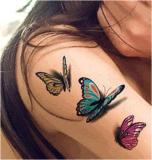 Стикеры Tattoo модной бабочки 3D водоустойчивые временно