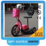 배터리 전원을 사용하는 3개의 바퀴 전기 스쿠터