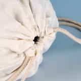 Zaino del Drawstring di corsa della tela di canapa del cotone di alta qualità con la pubblicità della stampa