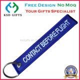 Gewebe-kundenspezifische Stickerei-Schlüsselmarke, entfernen vor Flug-Schlüsselring